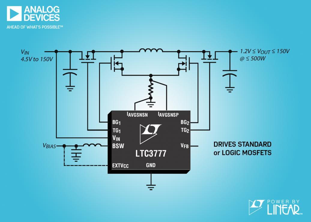 具集成化开关偏置电源的 150VIN 和 VOUT 同步 4 开关降压-升压型控制器