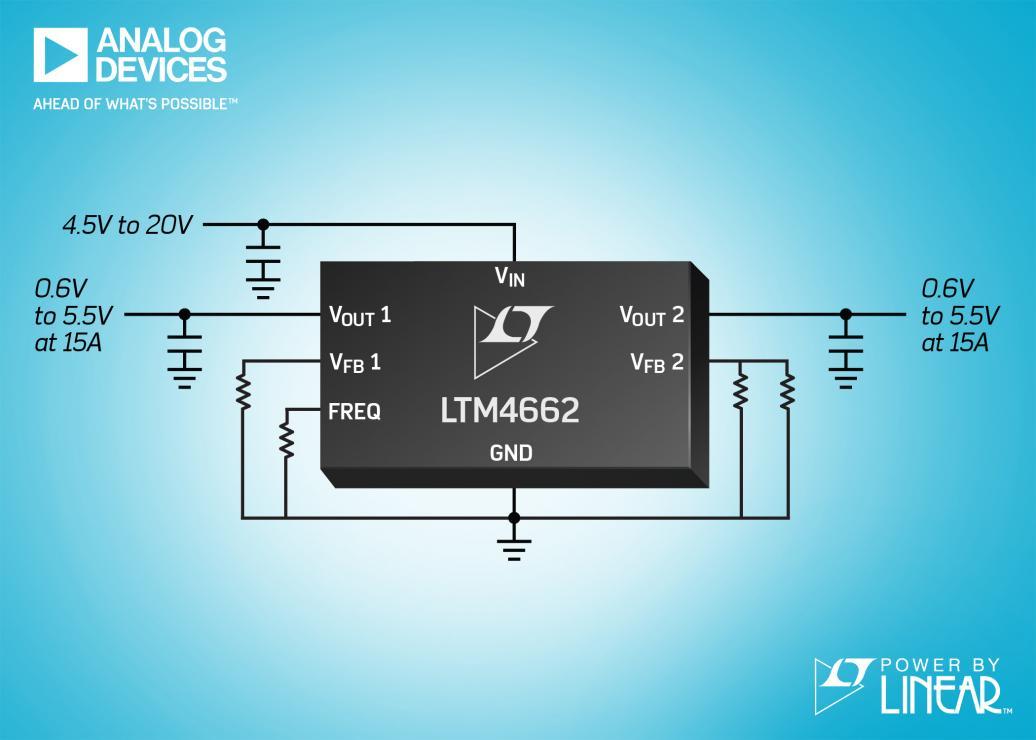 采用堆叠式电感器的双通道 15A 或单通道 30A  μModule 稳压器具有 96% 峰值效率和卓越的热性能