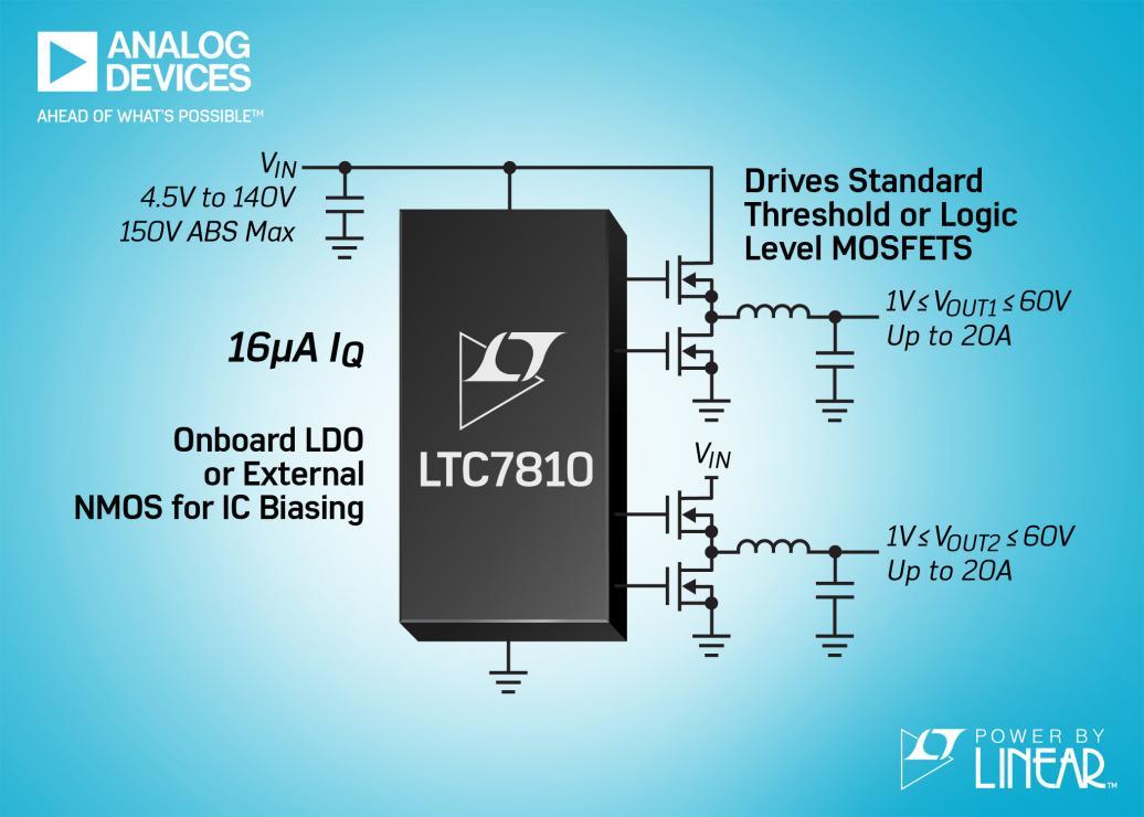 具 16μA IQ 的 150V 双通道同步降压型 DC/DC 控制器 免除了外部浪涌保护器件