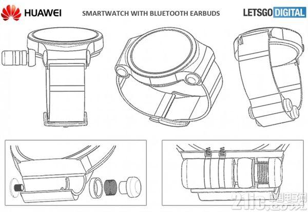 外媒曝华为手表最新专利:腕带与机壳可收纳蓝牙耳机